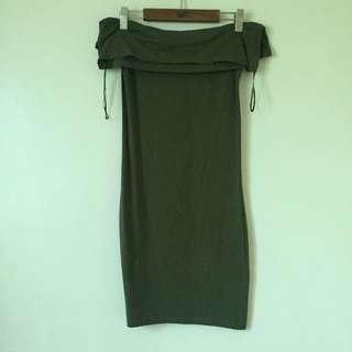 Off-Shoulder Army Green Dress