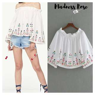 Embroidered Pom Blouse (White)