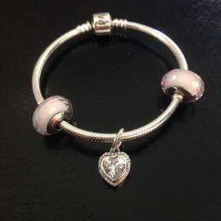 Pandora  Diamond Hearts  Pink Murano  set
