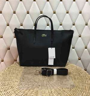 Lacoste short handle tote with sling