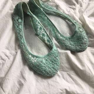 Wet Seal Turquoise Lace Flats