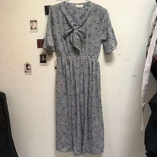 🚚 復古綁帶灰色洋裝