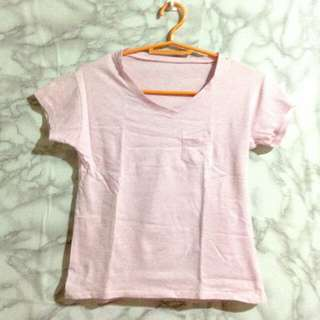 pink v-neck blouse