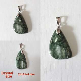 Very nice, Seraphenite pendant.(绿龙晶吊坠) set in 925 silver bail.