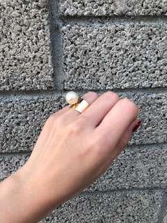 🚚 孫芸芸水鑽 珍珠立體戒指 氣質顯白款