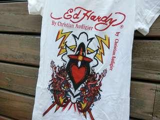 🚚 【二手】水鑽Ed Hardy 白短T恤