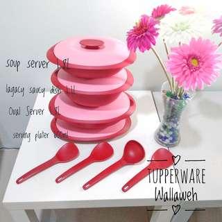 Royal Red Serving Set Tupperware dengan Gift Box - Set Penyaji Makanan Merah