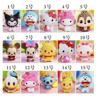 Disney DIY Keychain Charms (Mickey, Minnie, Winnie Pooh, Stitch, Donald Duck, Doraemon, Melody, Hello Kitty, Kuromi, Marie Cat)