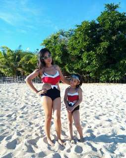 Mom and daughter swimsuit terno