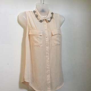 forever 21 beaded colarred sleeveless top
