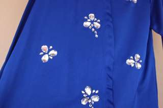 Cheap baju kurung top blue and silver
