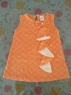 Pre-💖 sleeveless flower dot orange baby dress set
