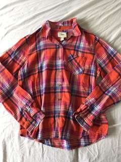 FOREVER 21 PLAID LONG SLEEVED COTTON POLO