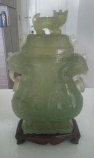 Antique lidded jade vase with stand