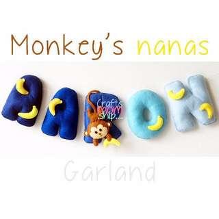 Monkey's Bananas Felt Name Garland