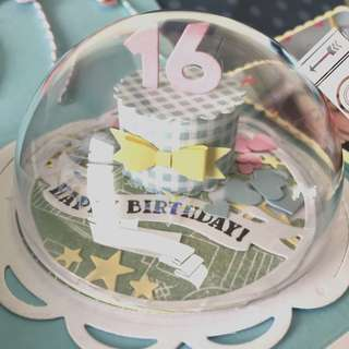🚚 Happy 16 Birthday Explosion Box Card with Cake globe