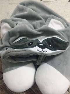 Cute raccoon neck pillow with hood