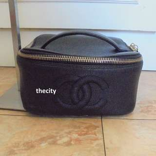 AUTHENTIC CHANEL LARGE SQUARE VANITY BAG - IN BLACK CAVIAR LEATHER - HOLOGRAM STICKER INTACT - GOOD CONDITION - (CHANEL VANITY CASES NOW RETAIL OVER RM 10,000+)