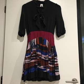 100% Silk Black Dress with Pattern