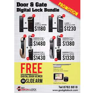 Digital Lock Bundle for Main Door and Gate Best Deals for HDB/BTO (Call 87828818)