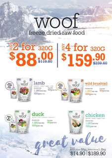 WOOF Freeze Dried Raw Food 320g 2 or 4pkt Promotion