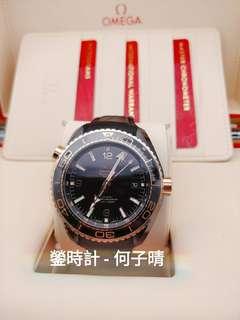 Omega 海馬系列 Planet Ocean「Deep Black」 45.5mm陶瓷錶殼 襯托18k玫瑰金 橡膠襯裡皮表帶
