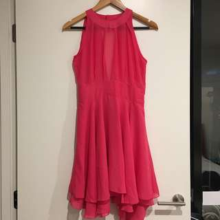 Hot pink Halter backless chiffon dress