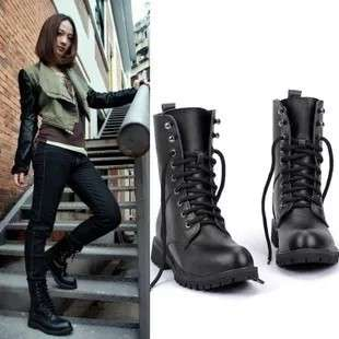 High Cut Lace Up Leather Boots