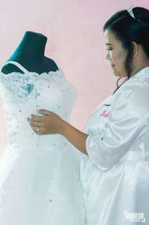 Wedding Gown long trail fit upto xl size