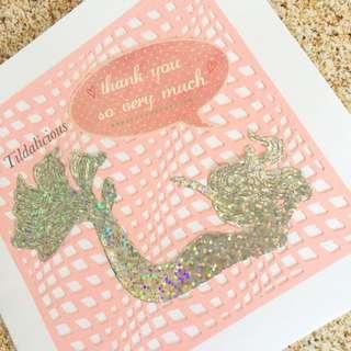 Handmade 'Mermaid' Thank you so very much card