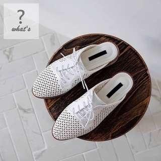 🚚 Korea 👞 韓系簍空綁帶懶人穆勒鞋