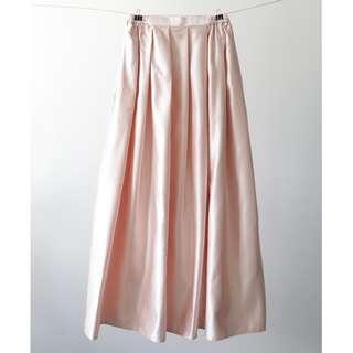 Basic Bridal Satin Maxi Skirt - Light Gold