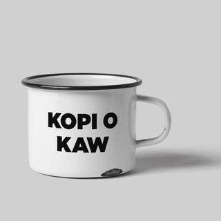 White Enamel Cup - Kopi O Kaw