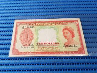 1953 Board of Commissioners of Currency Malaya and British Borneo $10 Note A/74 036780 Dollar Banknote Currency