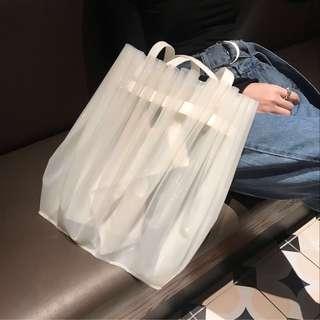 IOZ 小眾設計 手工簡約白色半透明防水手提包