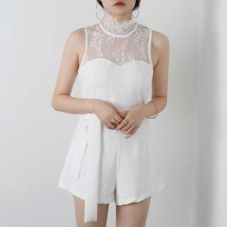 [PO] Bass High Collar Laced Romper 0001