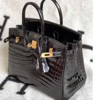 Authentic Hermes birkin 25 black shiny niloticus ghw stamp A