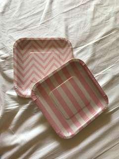 Baby shower / girl birthday pink dessert paper plates