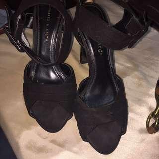 Charles&keith black sandal heels