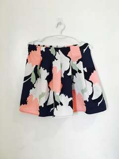 Floral Pleated Office Skirt