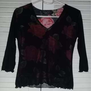 Preloved Black Blouse with Printed Rose Underlining