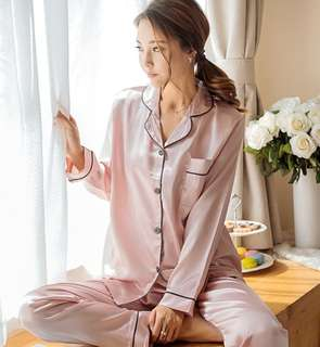 🚚 Women Satin Pyjamas Sleepwear Sets Collar Long Sleeve Top+pants Silk Nightwear