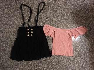 🚚 全新 實穿照 1+1優惠組😍合身粉嫩一字領上衣/吊帶黑色短裙