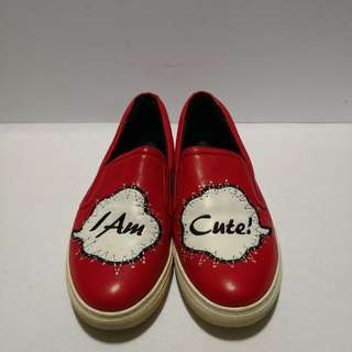 Authentic LiHui X Linea Rosa Leather Red Slip-on Shoes
