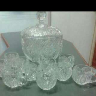 STUNNING GERMAN CRYSTAL(florenz Cut) LIDDED PUNCH BOWL with 10 Cups