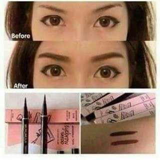 Readystock  Tattoo Monomola 7 Days Eyebrow Tattoo Waterproof Long Lasting Eyebrow Pencil BK001 (Dark Brown) - Unbox