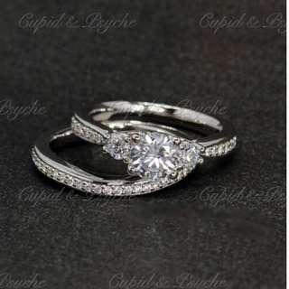 RN203419 Cupid & Psyche Jewellery 戒指 一卡 主石 求婚戒指 鑽戒 18K 鍍鉑金 925silver 蘇聯石 雙拼 戒指 拼戒 戒指套裝 禮物 RING SET