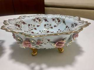 Gold Gilt Perforated Porcelain Bowl