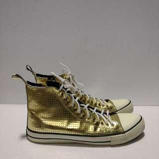 Authentic Underground UK Gold Hi-cut Leather Sneakers (Size UK4/US 6)