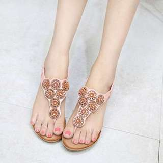 新款波西米亞坡跟串珠涼鞋/New bohemian beaded slope with sandals
